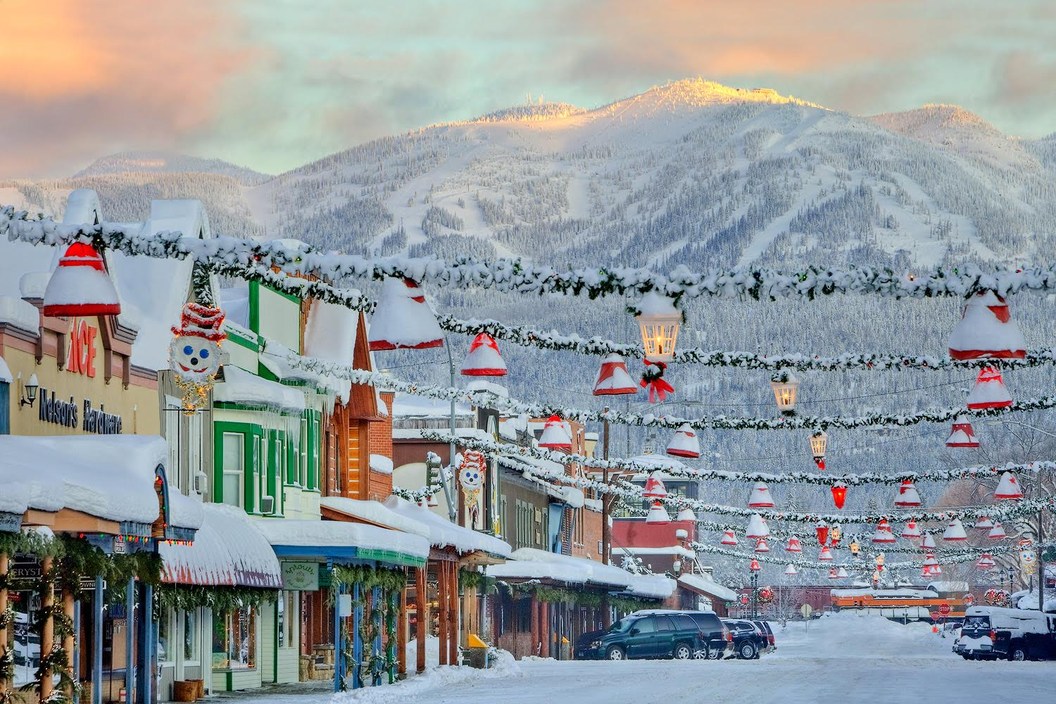 A look down Central Avenue on a winter sunrise in Whitefish Montana